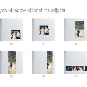Wzornik dostępnych okienek na zdjęcia dla okładek albumów fotograficznych.